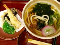 Delicious udon and tempura from a train station restaurant, where you can get good quality meals